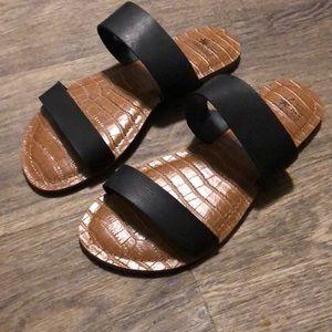 Black slip on double banded sandals